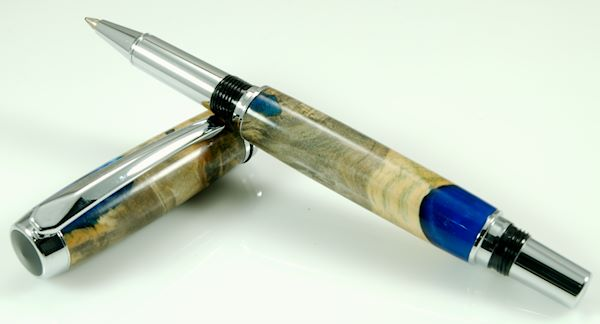Acrylic & Burl Rollerball Pen - Click Image to Close