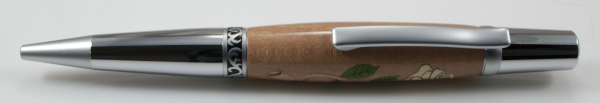 White Rose Wood Inlay Ballpoint - Click Image to Close