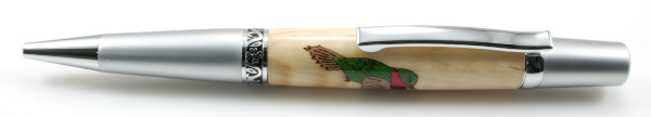 Humming Bird Wood Inlay Ballpoint - Click Image to Close